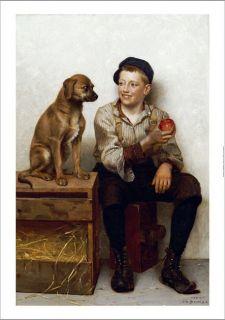 John George Brown Teasing Pup Boy Dog Print New