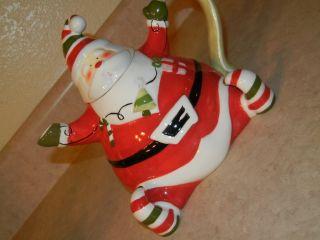 BELLA CASA GANZ JOLLY FAT SANTA CHRISTMAS TREE LIGHT CERAMIC TEAPOT