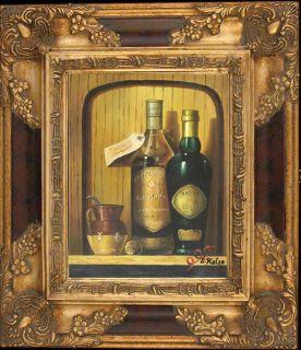 French Village Wine Cellar Original Oil Painting Wood Frame