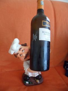 Fat Italian French Chef figurine Wine Bottle Holder Restaurant Cafe