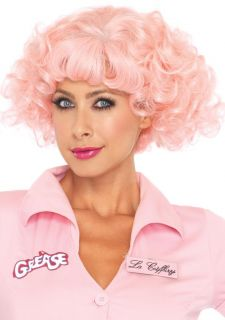 Grease Movie Frenchie Pink Wig Short Curly Wavy Wigs New Adult