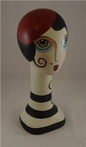 Frenchie Beret Wearing Mannequin Art Head Bust Flapper Hat Stand Paris