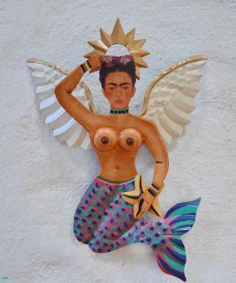 Frida Kahlo Sitting Winged Mermaid Mexican Folk Art Wall Ornament Home