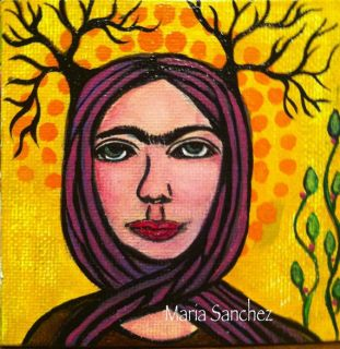 Frida Kahlo 4x4 inches original painting Mexican folk art by Maria