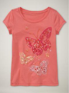 Girls Gap Kids Butterfly Shirt Top Spring Summer Sz 6 7
