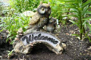 OWL WELCOME SOLAR POWERED GARDEN STONE HOOTERS NEW RESIN lawn