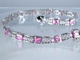 5ct PRINCESS PINK SAPPHIRE CREATED DIAMOND 18K WHITE GOLD GP BRACELET