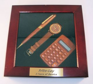 Vintage Frito Lay Service Award Gift Set Wood Grain Promo Watch Pen