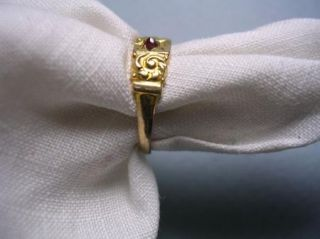Sweetest Little Antique Victorian Gold and Garnet Repousse Baby or