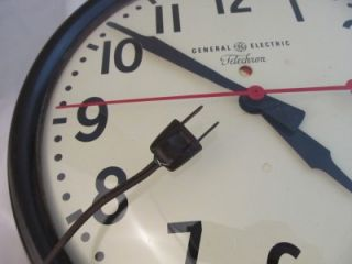 GE General Electric Telechron Brown Bakelite School Wall Clock 1HA1612