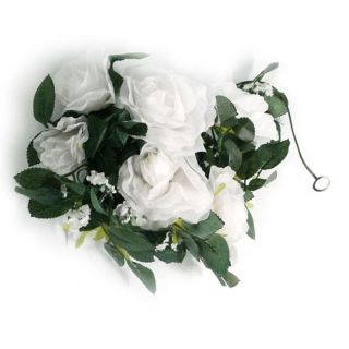 New 5 Pcs Silk Floral Rose Garland Wedding Decoration White