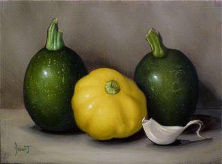 Fine Art Oil Painting Still Life 8 Ball Squash Garlic Clinton Hobart