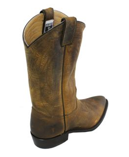 Frye Billy Pull on Dark Brown Leather Cowboy Boots 7 5 New