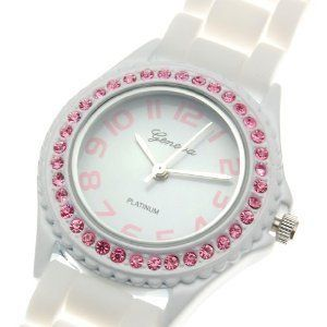 New Geneva White Silicone Rubber Jelly Watch with Pink Crystals