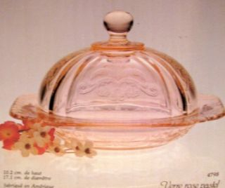 Indiana Glass Pink Madrid Covered Butter Dish Cheese Plate