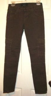 NWT HUDSON JEANS MILITARY SKINNY CARGO PANTS STRETCH DENIM OLIVE GREEN
