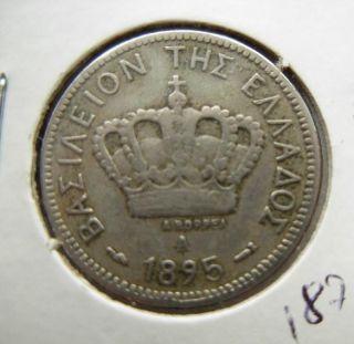 Greece Greek Coin Georgios A 1895 10 Lepta F