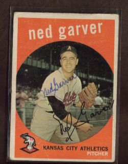 1959 Topps 245 Ned Garver Athletics Signed Card Auto