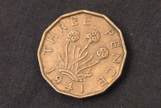 1941 George VI British English Three Pence Brass Coin