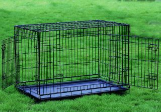 Extra Large 48 Folding Two Door Dog Crate Cage Kennel