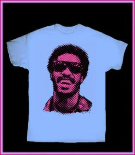 STEVIE WONDER blue T SHIRT 70s FUNK SOUL R B RETRO MOTOWN VINTAGE ROCK
