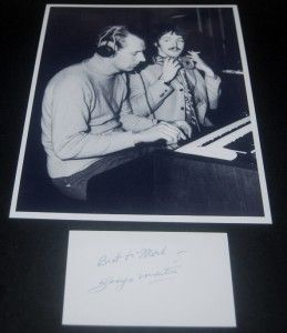 BEATLES PRODUCER GEORGE MARTIN SIGNED CARD AND GREAT PRINT W/ PAUL