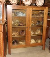 & Crafts Quartersawn Oak Rectangular Glass China Cabinet Room Ready