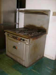 Wolf 4 Burner Hot Top Gas Range & Oven Restaurant Catering Cafeteria