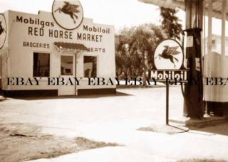 1920s Red Horse Mobil Oil Gas Service Station Phoenix Arizona AZ