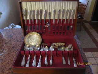 1941 Simeon George Rogers Co Silverware Set w Wood Case