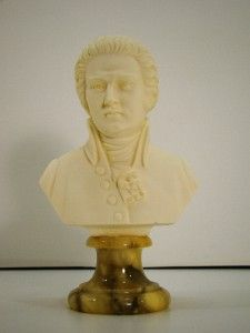 Arnaldo Giannelli Alabaster Sculpture Mozart Bust on Marble Base