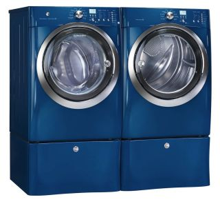 Blue Front Load Washer and Gas Dryer Laundry Set w Pedestals