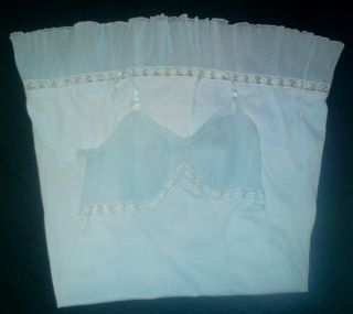 Vintage 1950s Powder Blue Nylon Full Slip Crystal Pleated Bust and Hem