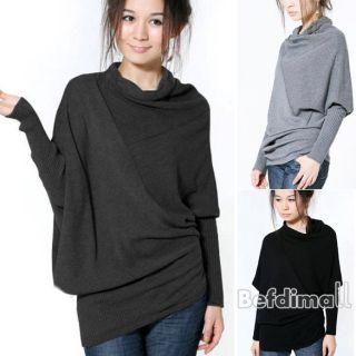 BE0D Korean Women Batwing Irregular Knit Sweater Shirt Blouse Long
