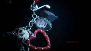 Gerard Way Red Black Glass Pictures Charm Bracelet