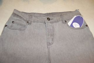 DIANE GILMAN DG2 SIZE 6P GRAY STRAIGHT LEG JEANS W ANKLE ZIPS HIPS 38