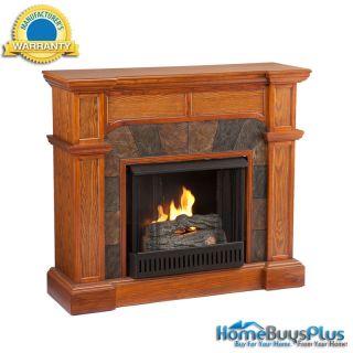 JULIAN Mission Oak Gel Fuel Fireplace Converts Corner / Flat Wall