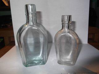 COFFIN SHAPED FLASK WHISKEY LIQUOR WINE GIN OLD VINTAGE BLUE TINT AQUA
