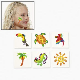 36 Assorted Tropical Tattoos Sea Turtle Gecko Toucan Parrot Beach