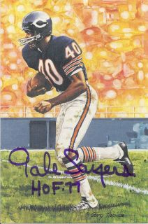 Gale Sayers Autographed Signed Chicago Bears Goal Line Art Card in
