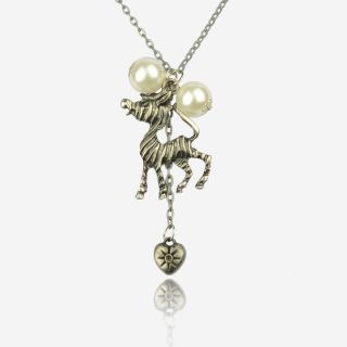 Gallant Vintage Tibet Silver Cute Horse Pearl Love Heart Necklace