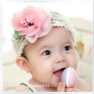 Girl Newborn Baby Crochet Flower Headband Hair Accessories Pink Color