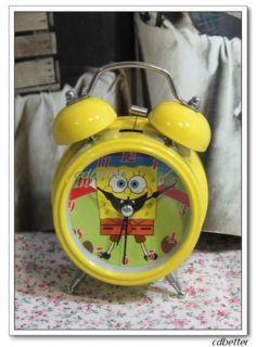 Girl Kids Spongebob Squarepants Yellow Desktop Twin Bell Alarm Clocks