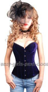 Royal Purple Velvet CORSET Clubwear BustierNEW S A012_purple
