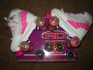Girl Size 4 Roller Derby City Lites Light Up Skates