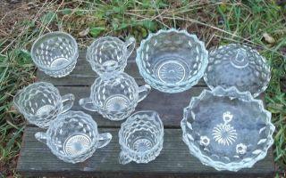 GRANDMA'S FOSTORIA AMERICAN GLASS CREAMERS, SUGAR BOWLS, OPEN BOWL