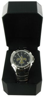 Game Time Watch Mens New Orleans Saints NFL Metal Victory Football
