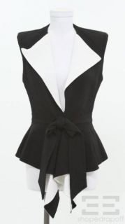 givenchy black white ruffle trim belted vest