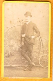 gent w high wheel penny farthing bicycle cdv photo