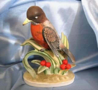 GEO LEFTON CHINA HAND PAINTED RED ROBIN BIRD FIGURE #KW465 JAPAN